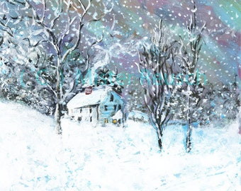 John Greenleaf Whittier Birthplace Winter Snow-Bound Signed Print by Mark Reusch