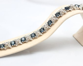 Simulated Sapphire and cubic zirconia silver bracelet