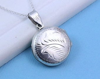 Sterling silver locket Necklace -Round locket necklace- Silver Lockets Necklace, Grandmother locket, Choose your Chain R-7