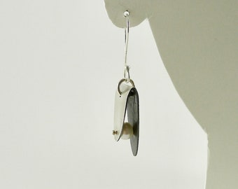 Sterling Silver and Pearl Oval Fold Earrings - E2620