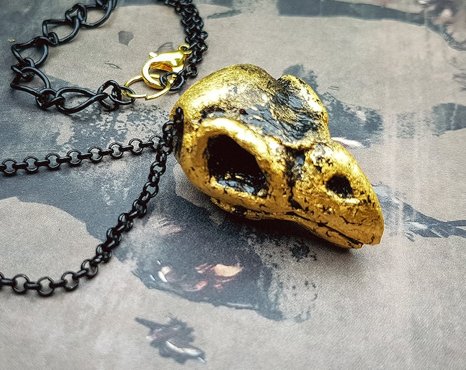 Sparrow Necklace with gold leaf
