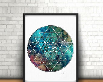 Sacred Geometry, Spiritual Wall Art, Mandala Art, Watercolor Mandala, Yoga Wall Art, Zen Decor, Yoga Studio Decor, Sri Yantra Geometry