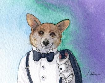 Welsh Corgi dog 8x10 art print - a black tie affair