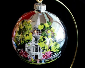 Hand Painted Christmas Ornament Church Scene item 79