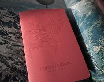 Eyjafjallajökull Glacier Letterpress Notebook Red