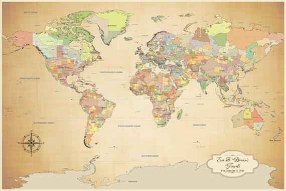 Cotton Anniversary Gift Push Pin World Map Travel World
