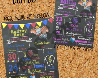 Dumbo Birthday Chalkboard / 1st birthday chalkboard / 2nd birthday chalkboard/ Dumbo Birthday