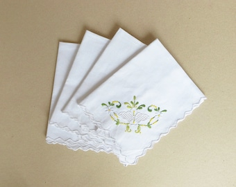 VIntage Cotton Table Napkin with Hand Embroidery Yellow White Green Embroidered Flowers