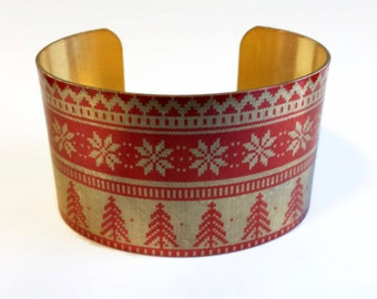 Christmas Sweater brass cuff bracelet Free Shipping to USA Gifts for her