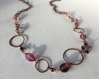 Purple Glass Bead & Gemstone Copper Chain Necklace