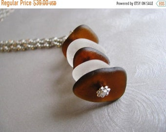 Mothers Day Sale Beach Glass Necklace - Stacked Sea Glass - Sea Glass Jewelry - Sea Glass Necklace - Ocean Jewelry Gifts of the Sea - Genuin