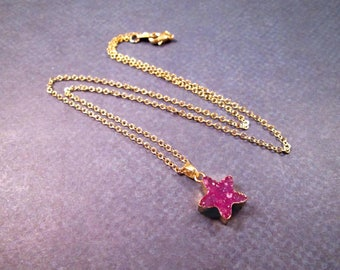 Gemstone Star Necklace, Druzy Quartz Pendant, Pink Stone Beaded, Gold Chain Necklace, FREE Shipping U.S.