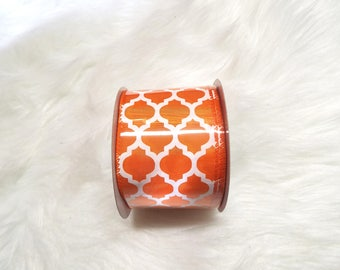 2.5X10yds-Orange quatrefoil ribbon, Orange lattice ribbon, Orange quatrefoil ribbons, Orange lattice ribbons, Orange ribbon