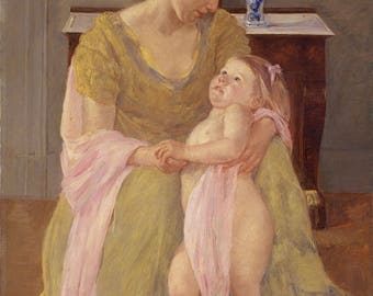 "Mary Cassatt : ""Mother and Child with a Rose Scarf"" (c. 1908) - Giclee Fine Art Print"