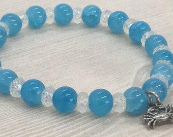 Blue Crab Beaded Stretch Bracelet