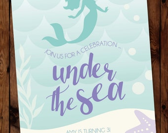 Mermaid Birthday Invitation, Under the Sea Invitations, Little Mermaid Invitation, Little Mermaid Invite, Under the Sea Party Invite #001