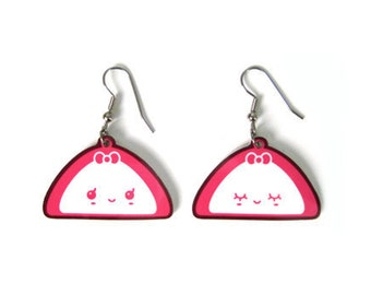 Korean Odang Girl Earrings, Fish cake, Kawaii Japanese Kamaboko Oden Art, Cute Food Jewelry, Asian Udon Noodles Soup, Pink bow charm
