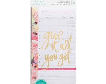 Heidi Swapp Planner Inserts - Meal/Exercise - 25 pages/pack - Fitness Planning / Meal Plan / Exercise Plan / Floral Inserts