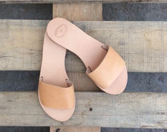 Greek Sandals, Slip on Sandals, Summer Flats, Leather Sandals, Roman Sandals, Women's Sandals, Leather flats, Natural Leather,Handmade,mules