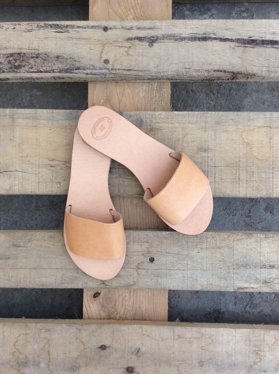 Leather on Leather Sandals Roman Sandals Sandals flats Slip Handmade Natural Leather Greek Flats Sandals Women's Summer mules Sandals EHPYgnZg