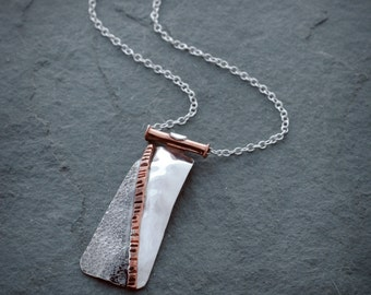 Textured Sterling Silver Pendant-Necklace - Mixed Metal Necklace, Sterling Silver and Copper Necklace, Jewelry By Naomi