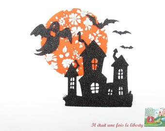 Applied fusing haunted house fantole Halloween liberty Capel orange fabric patch liberty fusible iron-on glitter