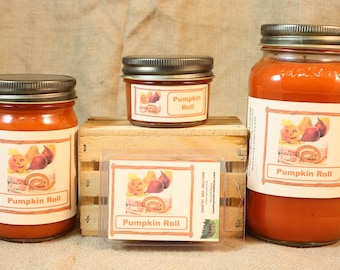 Pumpkin Roll Scented Candle, Pumpkin Roll Scented Wax Tarts, 26 oz, 12 oz, 4 oz Jar Candles or 3.5 Clam Shell Wax Melts