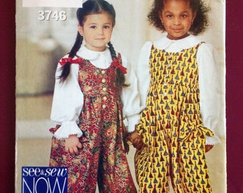 See and Sew 3746 Toddler Girl's Jumpsuit with Leg Bands and Rick Rack Trim Blouse with Peter Pan Collar - Size 1 2 3