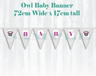 Owl Baby shower Banner, Printable download, Paisley, Polka dots, flowers, Grey stripes, purple font
