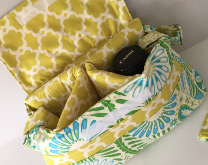 Large Padded Digital Camera Bag with Camera Strap Cover Crossbody Messenger Canon Rebel EOS 55mm 300mm Fun Watermelon Wishes Nikon Flowers
