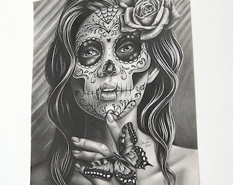 ORIGINAL DRAWING Serenity 8x10 inch Pencil Drawing by Carissa Rose Day of the Dead Sugar Skull Day of the Dead Tattooed Girl With Butterfly