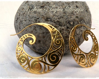 Exotic hoop earrings. Gold filigree earrings, Gold vermeil earrings hoops earrings inspired and adorned with Maori kowhaiwhai patterns