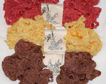 Seam Binding Ribbon - Crinkled  - 18 Yards  - COZY FALL EVENING -  Brown Ribbon -  Gold Ribbon - Coral Ribbon