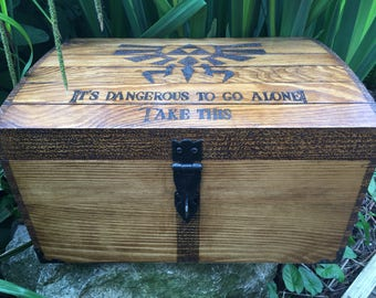 Very large Zelda inspired chest. Zelda fan, legend of Zelda lockable chest