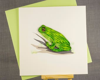 3D Handmade Card  Quilling Card Quilled Frog Animal Card Paper Quilling