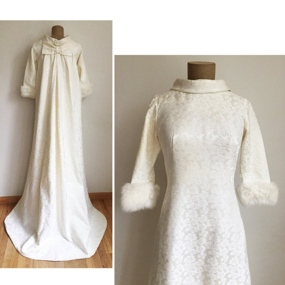 60er Jahre Pelz getrimmt-Brautkleid Jahrgang weißen Kleid