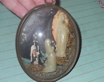 Antique French Lourdes Holy Mother and Saint Bernadette Oval Convex Glass Wall Hanging Glowing in the Dark Our Lady of Lourdes Domed Glass