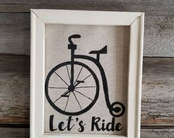 Let's Ride vintage feel Handmade sign with Bicycle