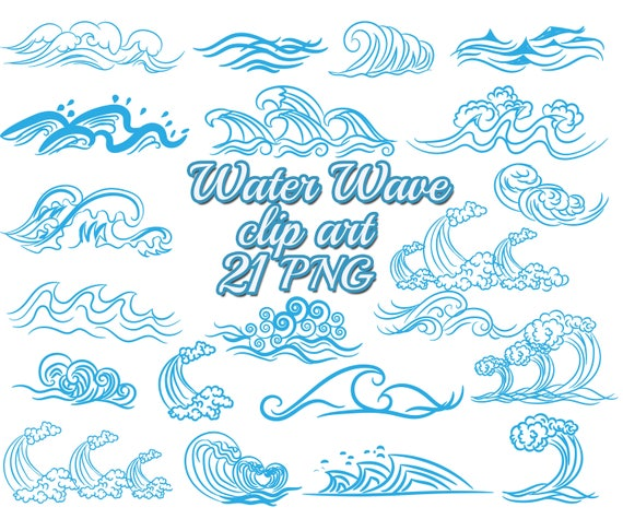 blue wave clip art water wave clipart nautical rh etsy com water wave clip art free Beach Waves Clip Art