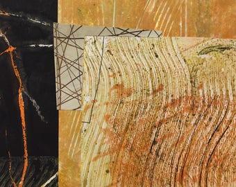 Passage - Collage avec papiers 5 x 5 sur 8 x 10 support peint