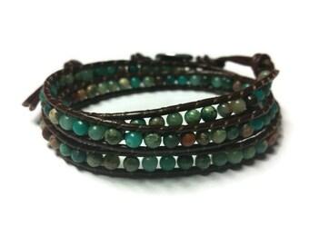 Green Beaded Bracelet Brown Leather Wrap Gift for Her Anniversary Gift Bohemian Stone Multi Wrap Bracelet Round Beads Adjustable Bracelet