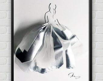 Minimalist Fashion Vogue Artwork - Figure with Fabric Skirt - One of a Kind, Made to Order 3D Art