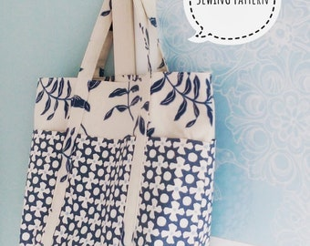 Doris Tote Bag sewing pattern by Lillyblossom. Six outer pockets. Perfect for shopping or holidays. Easy to follow instructions.
