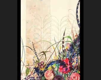 Peony artwork-- Rustic Fall Bouquet