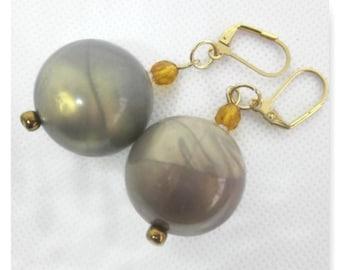 Glossy Gumball Earrings, Bubblegum Earrings, Vintage Retro Style, Marbled Pearls, Space Orbs, Baubles Jewelry, Mod Jewelry, Drop Earrings
