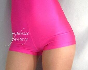 High waisted shiny spandex shorts / hot pants - Neon Pink