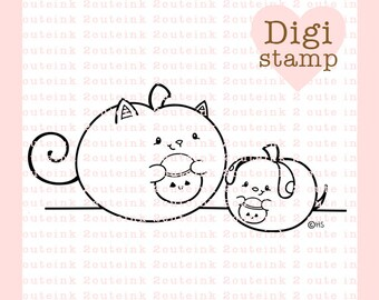 Cat and Dog Pumpkins Digital Stamp - Halloween Stamp - Digital Halloween Stamp - Pumpkin Art - Cat and Dog Card Supply - Fall Craft Supply