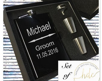 Groomsman Gifts/SET OF NINE Engraved Flask/Stainless Steel Flask/Bridal Party Gifts/Best Man Gift/Fathers Day Gift/Gifts for Him