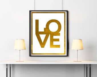 LOVE wall decor Love Sign Gold glitter Wall art Home Decor Wedding gift Poster Gold print Love Print Love text Anniversary gift