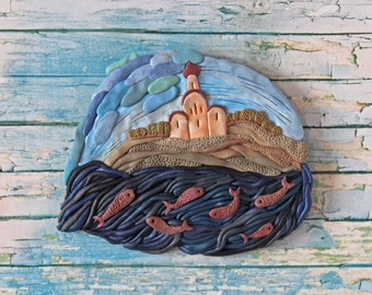Church By the River Miniature Polymer Clay Sculpture | wall sculpture | polymer clay relief | home decor| wall decor| wall hanging